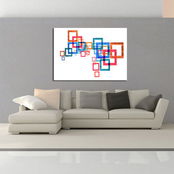 Mid Century Wall art canvas print, modern colorful wall decor, Geometric Wall art, squares, nursery wall decor canvas No.714