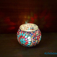 Handmade unique colourful glass mosaic candle holder, pencil holder, mosaic vase.
