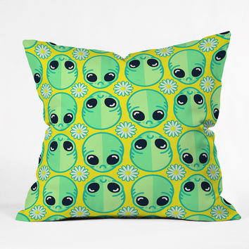 Chobopop Sad Alien And Daisy Pattern Throw Pillow