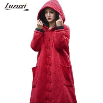 Presale Plus Size Women Hooded Coats Linen Witch Cape Female Winter Jackets Vintage Cotton Cloak Parkas Ladies Windbreaker WS915