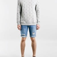 Mid Wash Ripped Skinny Shorts - Topman