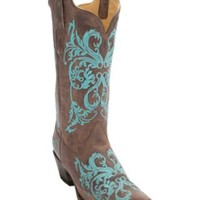 Corral® Women's Brown Maddog w/Turquoise Embroidery Snip Toe Western Boots