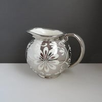 Vintage Silver Luster Creamer | Gray's Pottery Pitcher | Hand Painted Flower Covered Creamer | British Pottery