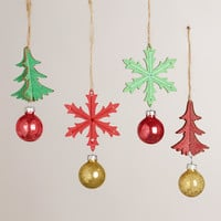 Wooden Snowflake and Tree Ornaments, Set of 4 - World Market