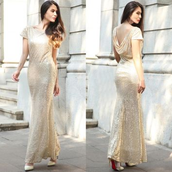 Luxury Gold Silver Long Sequin Dress Pink Double Cheap Gowns Short sleeves Prom Party Formal Dresses vestidos