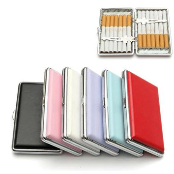 1pc Cigarette Case Holder Pocket-box 7 Solid Colors Leather Tobacco Cigarette Case Box Container Smoking Pouch for 14 Cigarettes