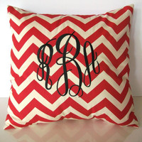 Monogrammed pillow cover, 18 x 18, jumbo monogram, red and white chevron, more colors to choose from