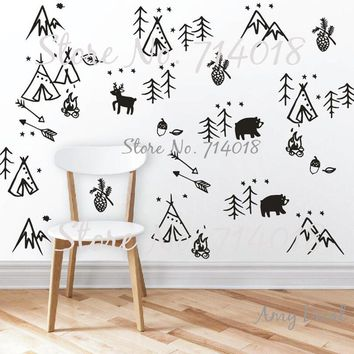 Woodland Doodles Wall Decals Forest Tree Animals Arrows Wall Stickers for Kids Rooms Baby Nursery Decal Vinyl Home Decor A904