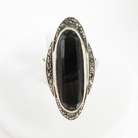 Vintage Art Deco Ring - Sterling Silver Black Stone Ring - Glass and Marcasite Ring Size 4.5