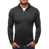 Sweater Pullover Men 2017 Male Brand Casual Slim Sweaters Classic Zipper High Collar Simple Solid Color Men Polo Sweater XXXL