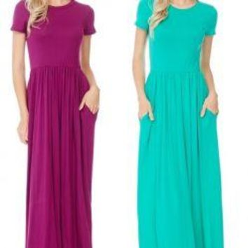 MAGENTA Fit and Flare Maxi Dress w/Pockets