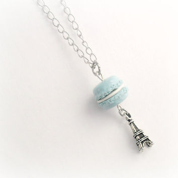 Blue Macaron Eiffel Tower Necklace, Kitsch Tiny Blue Macaroon, Cute And Kawaii :D