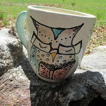 Owl mug book lovers pottery mug cup