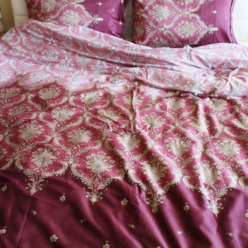 Full / Double / Queen Duvet Cover  Full Set Purple Damask Pattern Cotton Satin Fabric with pillowcases, Express Shipping Spring Celebrations