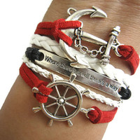 Combined Bracelet, Antiqued Silver Rudder Bracelet, Anchor Bracelet, Where There is a way, there is a Will Bracelet, White Braid, Red Cords