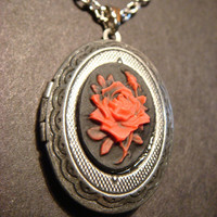 Red and Black Rose LOCKET Necklace