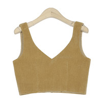 Simple Toned Corduroy Crop Top