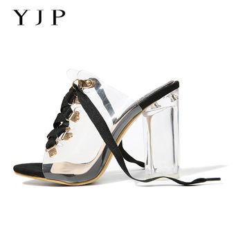 YJP 10.5cm Clear Heels Jelly Sandals Shoes, Black/Beige Metal Lace-up Peep Toe Pumps, Sexy Slippers Slides Perspex Heels