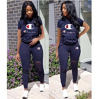 Champion Hot Sale Women Personality Print Short Sleeve Top Trousers Set Two-Piece Blue