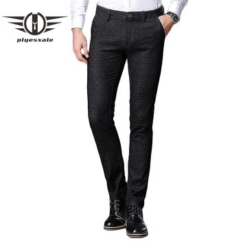 Men Casual Pants Spring Summer New Fashion Cotton Formal Trousers Men Slim Fit Plaid Pants