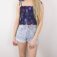 Vintage Floral Sleeveless Cropped Blouse