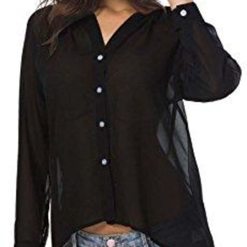 Ayli Womens Casual Button Down Shirt Blouse Long Sleeve V Neck Sheer Chiffon Top US Size 4 to 22