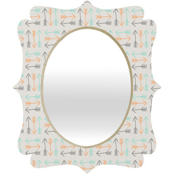 Allyson Johnson Peachy Arrows Pattern Quatrefoil Mirror