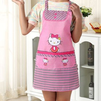 New Hello Kitty Apron Cooking Kitchen Apron Floral Canvas yey-K692