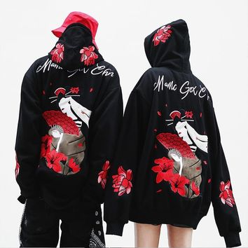 Drop Shipping Japanese Street Oversize Embroidery Lotus Hoodies Hip-hop Style Hoodie Lovers Loose Men Women Hoodies US Size S-XL