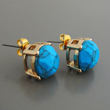 Turquoise Earrings - Gold Earrings - Howlite Earrings - Stud Earrings