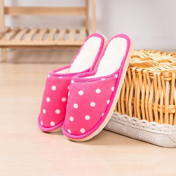 Polka Dot Men Women Girls Indoor Soft Slippers Non-Slip Sole Open Heel House Bedroom Fuzzy Slipper Winter Striped Shoes