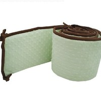 American Baby Company Minky Dot Cradle Bumper with Chocolate Trim, Celery
