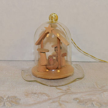 CIJ Sale Nativity Bell Ornament Vintage Collectible Wooden Christmas Tree Ornament Jesus Mary Joseph Glass Bell Ornament Religious Collectib