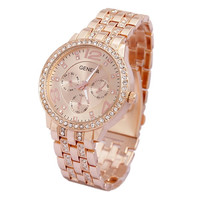 New Arrival! Luxury Geneva Dial Stainless Steel Band Man Women Quartz Analog WristWatch Girl Boy Wrist Watch Gold Rose Sliver Dress Watches RoundRose Gold 2015 Sport Wristwatch Unisex Outdoor Fashion watches (Size: M, Color: Rose gold) = 1956710020
