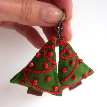 Christmas Tree Felt Earrings Holiday Winter Jewelry Green Red Ornaments Beads Embroidery