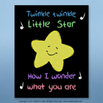 Little Star Chalk Art Print  - nursery or child room wall art print for boy or girl - 8x10 Print