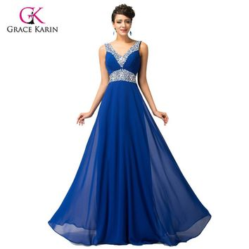 Sequin Bridesmaid Dresses Grace Karin 2017 cheap Long Chiffon Royal Blue Brides Maid Dresses under 50 robe de mariee