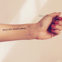 2pcs This Too Shall Pass quote tattoo - InknArt Temporary Tattoo - hand writing temporary tattoo wrist neck anchor bird quote