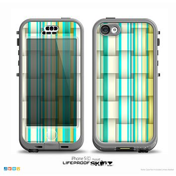 The Vivid Green and Yellow Woven Pattern Skin for the iPhone 5c nüüd LifeProof Case