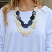 Tagua Nut Flat Necklace Black/Ivory