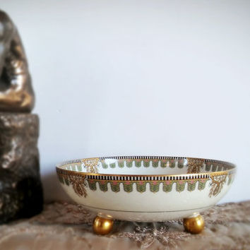 Vintage Haviland Limoges bonbon bowl, Footed Limoges Bowl Green and Gold Scroll