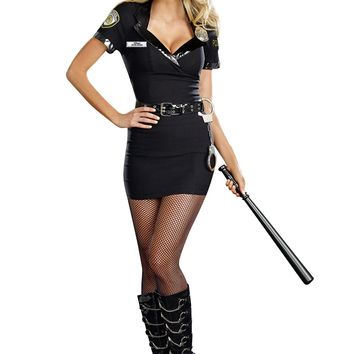 Dirty Cop Officer Anita Bribe Costume (Small,Black)