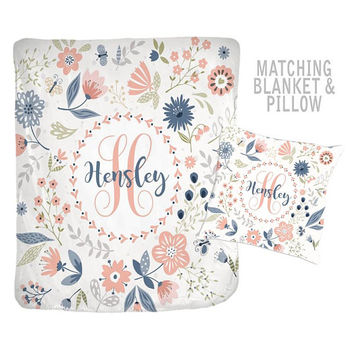 Floral Monogram Blanket - Personalized Flower Blanket - Flower Nursery Quilt - Girl Name Blanket-Baby Shower Gift-Swaddle Blanket Pillow Set