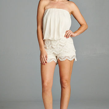 Strapless Lace Romper in Ivory