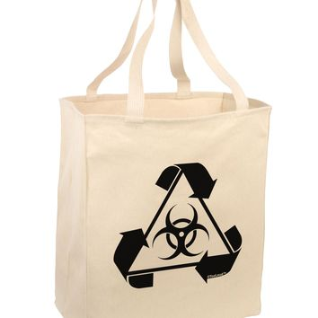 Recycle Biohazard Sign Black and White Large Grocery Tote Bag by TooLoud