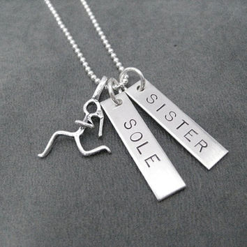 SOLE SISTER Runner Girl Sterling Silver 2 Pendant Necklace - Choose 16, 18 or 20 inch Sterling Silver Ball Chain - Running Buddy Necklace