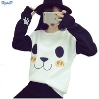 Hot Sale Kawaii Harajuku Sweatshirt Women Cartoon Panda Printed O-neck Long Sleeve Loose Fashion Causal Outwear 2016 New Hoodies