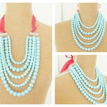 Aqua Blue Coral Pink Multi Strand Statement Necklace Glass Bead Coral Pink Ribbon Adjustable - Wedding, Bridal, Bridesmaid Chunky