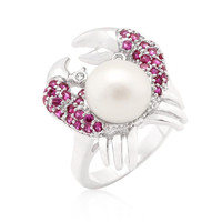 Pearl Crab Cubic Zirconia Ring, size : 05