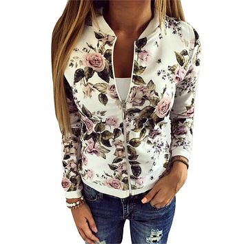 Trendy New 2017 Sequin Jacket Bomber Jacket Floral Women White Coat Casual Baseball Jacket Zipper Basic Outerwear Coats Chaqueta Mujer AT_94_13